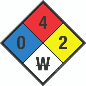 NFPA 704: 0-4-2 W - Wall Sign