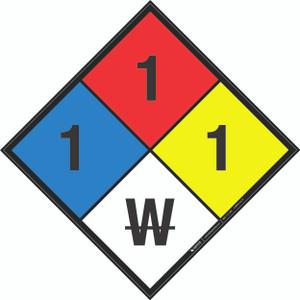 NFPA 704: 1-1-1 W - Wall Sign