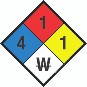 NFPA 704: 4-1-1 W - Wall Sign