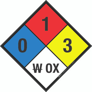 NFPA 704: 0-1-3 W OX - Wall Sign