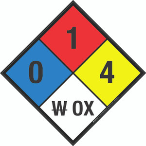 NFPA 704: 0-1-4 W OX - Wall Sign