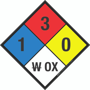 NFPA 704: 1-3-0 W OX - Wall Sign