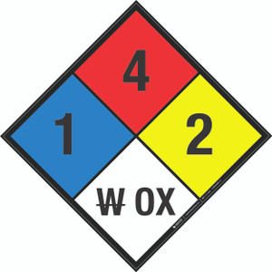 NFPA 704: 1-4-2 W OX - Wall Sign