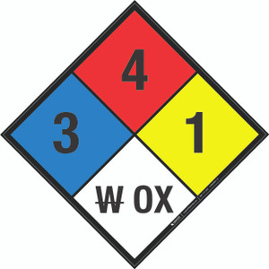NFPA 704: 3-4-1 W OX - Wall Sign