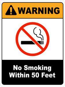 Warning No Smoking within 50 feet