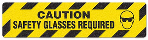 "Caution Safety Glasses Required (6""x24"") Anti-Slip Floor Tape"