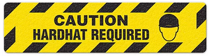 "Caution Hardhat Required (6""x24"") Anti-Slip Floor Tape"