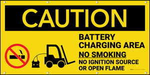 Caution Battery Charging Area Forklift No Smoking Open Flame Banner