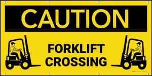 Caution Forklift Crossing Banner
