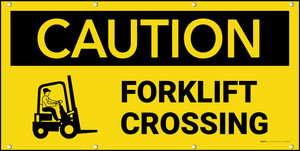 Caution Forklift Crossing with Graphic Banner