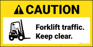 Caution Forklift Traffic Keep Clear With Graphic ANSI Banner