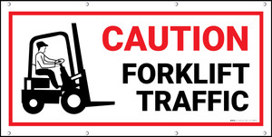 Caution Forklift Traffic Red/Black Banner