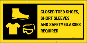 Closed Toed Shoes Short Sleeves & Safety Glasses Required Black Background Banner