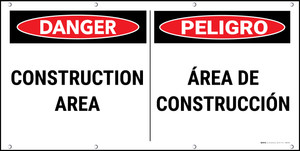 Danger Construction Area Bilingual Banner