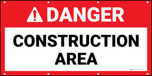 Danger Construction Area Red Banner