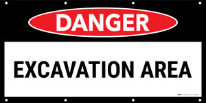 Danger Excavation Area No Frame Banner