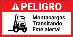 Danger Forklift Traffic Spanish ANSI Banner