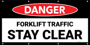 Danger Forklift Traffic Stay Clear No Frame Banner