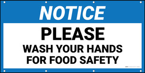 Notice Please Wash Your Hands For Food Safety Banner
