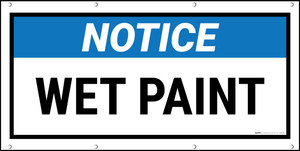Notice Wet Paint Black FrameBanner