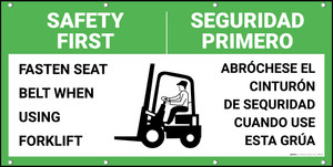 Safety First Fasten Seat Belt When Using Forklift Bilingual Spanish With Graphics Banner