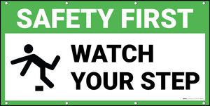 Safety First Watch Your Step Trip Icon Banner