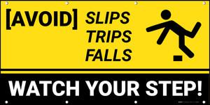 Avoid Slips Trips Falls Banner