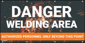Danger Welding Area Authorized Personnel Orange Banner