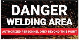 Danger Welding Area Authorized Personnel Red Banner