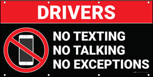 Drivers No Texting Talking Exceptions Dark Banner