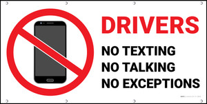 Drivers No Texting Talking Exceptions Light Banner
