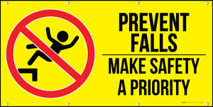 Prevent Falls Make Safety A Priority Yellow Banner