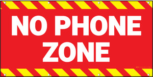 No Phone Zone Red Background Banner