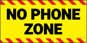 No Phone Zone Yellow/Red Banner
