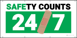 Safety Counts 24/7 Green Banner