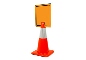 Blank Orange Vertical Clip-On Cone Sign