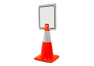 Blank White Vertical Clip-On Cone Sign