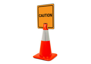Caution Vertical Clip-On Cone Sign