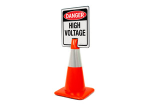 Danger High Voltage Symbol Clip-On Cone Sign