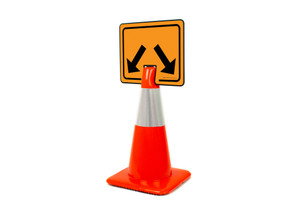 Divided Lane Arrow Clip-On Cone Sign