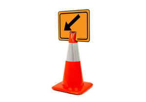 Down Left Arrow Clip-On Cone Sign