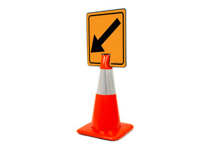 Down Left Arrow Vertical Clip-On Cone Sign