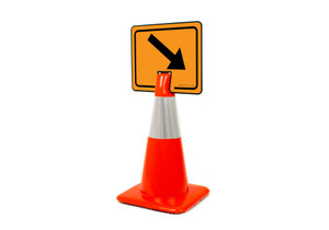 Down Right Arrow Clip-On Cone Sign