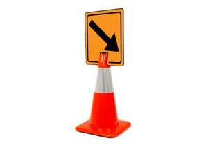 Down Right Arrow Vertical Clip-On Cone Sign