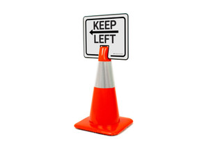 Keep Left With Arrow Clip-On Cone Sign