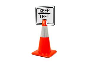 Keep Left With Arrow Clip-On Cone Sign