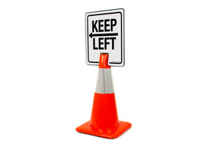 Keep Left With Arrow Vertical Clip-On Cone Sign