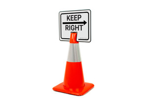 Keep Right With Arrow Clip-On Cone Sign