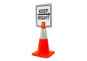 Keep Right With Arrow Vertical Clip-On Cone Sign
