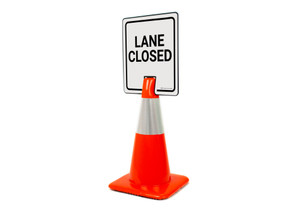 Lane Closed Vertical Clip-On Cone Sign